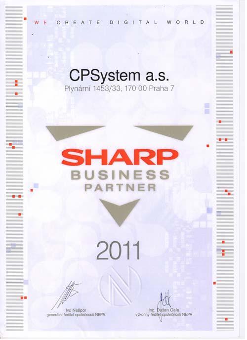 Certifikát Sharp